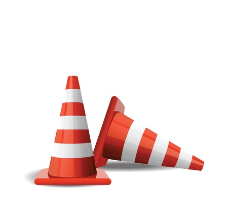 Traffic Cones isolated on white  Vector