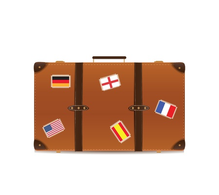 Suitcase Isolated on White with Traveling Flags  Çizim