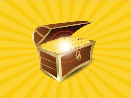 jewelry boxes: Treasure Full of Gold Illustration  Illustration