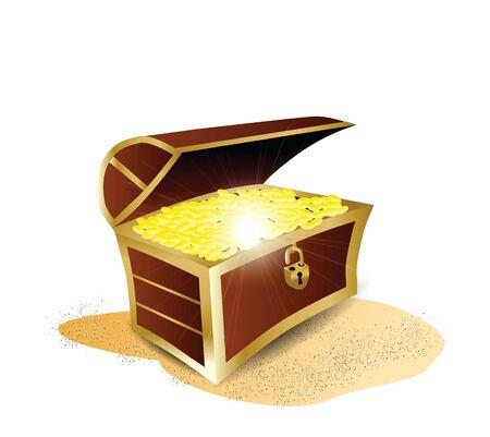 treasure box: Treasure Full of Gold Illustration  Illustration