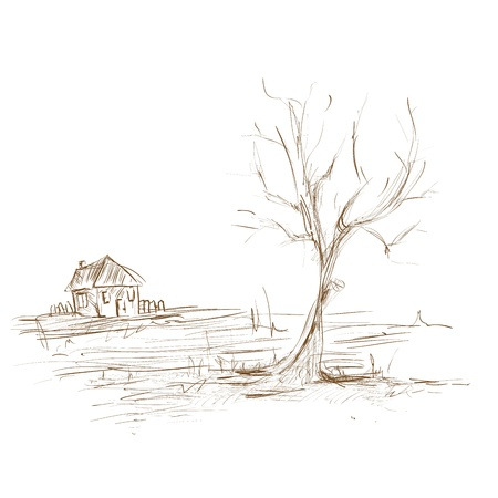 Hand draw sketch landscape , tree and house