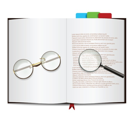 hard bound: Book Isolated on white with glasses and magnifying glass