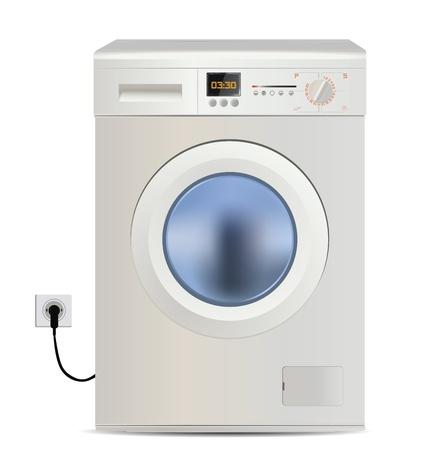 세탁기: 세탁기에 고립 된 흰색 일러스트