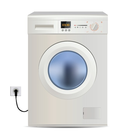 Washing Machine Isolated on White  Vector