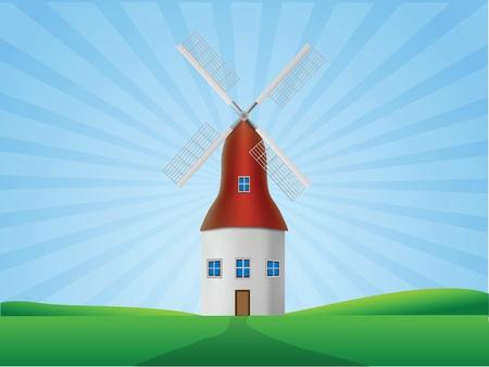 Windmill Illustration  Vector
