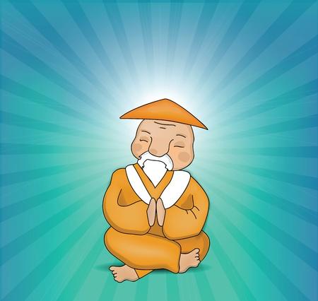 Zen Master Mediteren Vector Illustratie