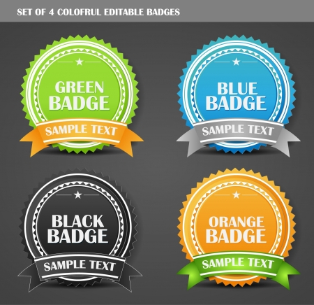 Set of Four Colorful Fully Editable Batches  Illustration