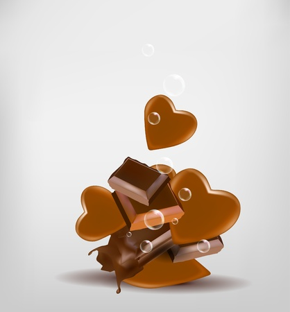 Chocolate with hearts Stock Vector - 13361808