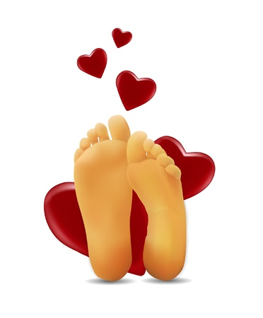 pies: pies con un coraz�n Vectores