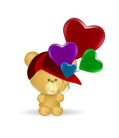 bear holding hearts Stock Vector - 13361800