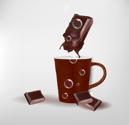 mugs with chocolate  Vector