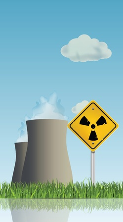 hazard sign: Nuclear Power Planet Landscape