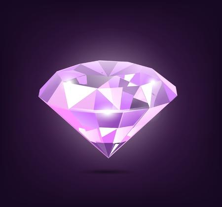 glisten: Элегантный фиолетовый Иллюстрация алмаз на фоне темно-фиолетового