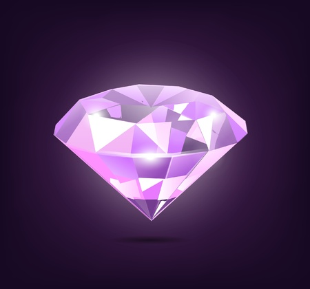 three dimensional shape: Elegant Purple Diamond Illustration on Dark Purple Background