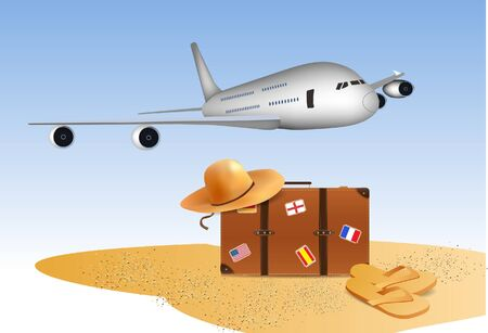 Travel Background , Airplane, flip flops and suitcase  Stock Vector - 13361839