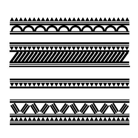 폴리네시아: 마오리 폴리 네 시안 스타일의 문신 팔찌 일러스트