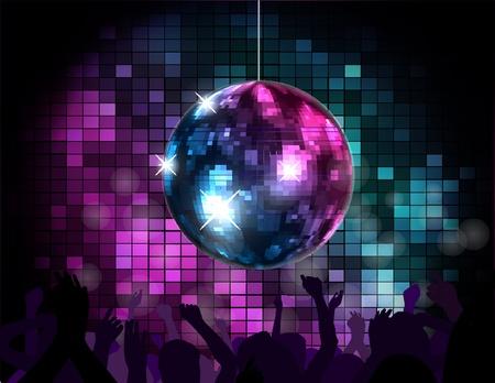 retro disco: Ambiente de fiesta con el globo de discoteca