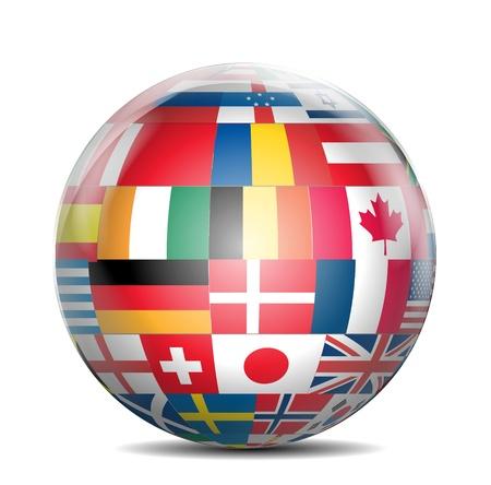 banderas del mundo: Globo brillante con banderas del mundo