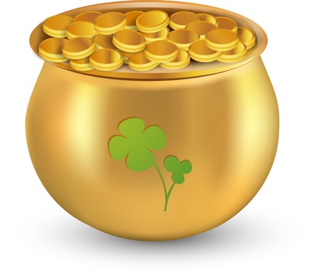 Gold coins pot with clover leaf against white background for St  Patrick Vector