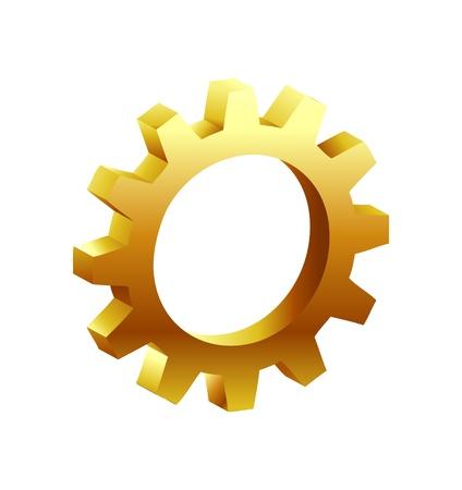 mechanism of progress: Golden Gear Icon  Illustration