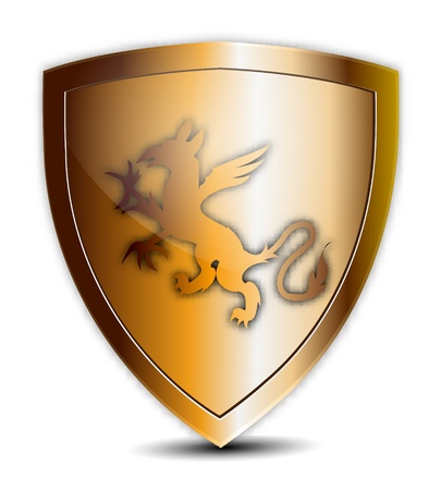 Golden Shield with Ornament Stock Vector - 13361864