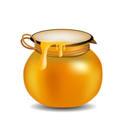 Honey Jar isolated on white  Çizim
