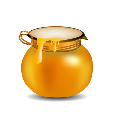 golden pot: Honey Jar isolated on white  Illustration