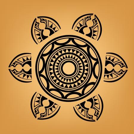 폴리네시아: 마오리 폴리 네 시안 스타일의 문신 일러스트