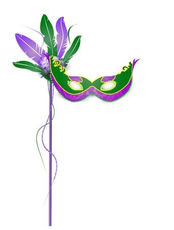 mascara de carnaval: Mardi Gras M�scara Aislado sobre fondo blanco