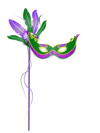 Mardi Gras Mask Isolated on White Background  Vector
