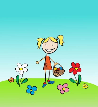 Little Girl with flowers  Vector