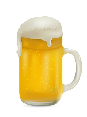 Realistic Pint of Beer Isolated on white Background Stock Vector - 13361860