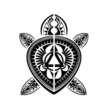 폴리네시아: 마오리 폴리 네 시안 스타일의 문신 거북이