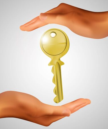 key in hands Stock Vector - 13361900