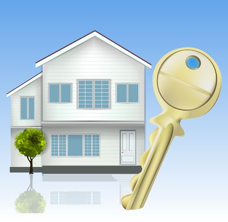 housing project: Real Estate with key  Illustration