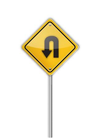 turn yellow: Turn back road sign,  illustration