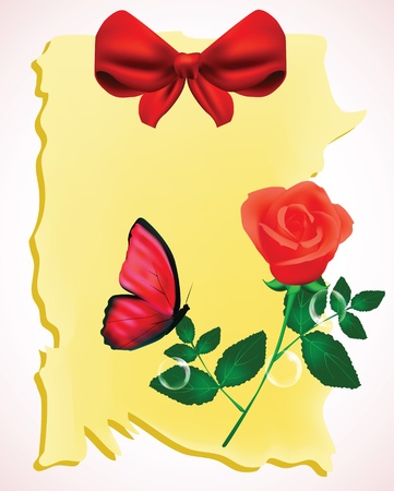 perfection: Rose and butterfly background