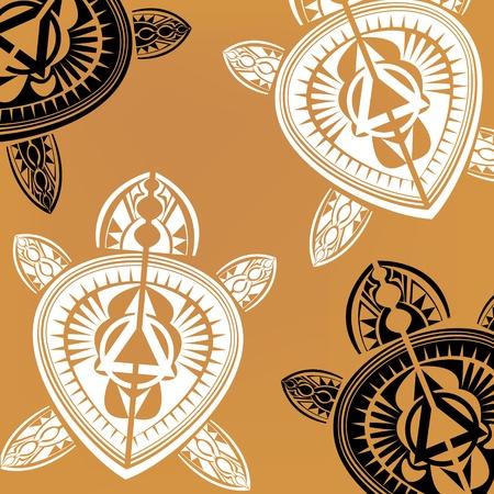 マオリのポリネシア スタイルのカメのタトゥー