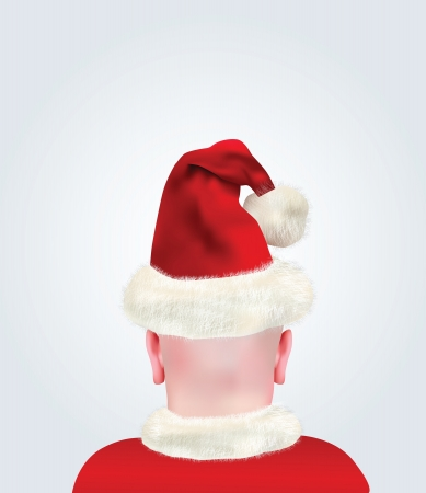 bald head:  Realistic Bald Head With Santa Claus Hat  Illustration