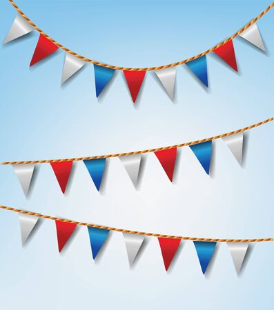 Set of Bunting Flags Red and White Vector