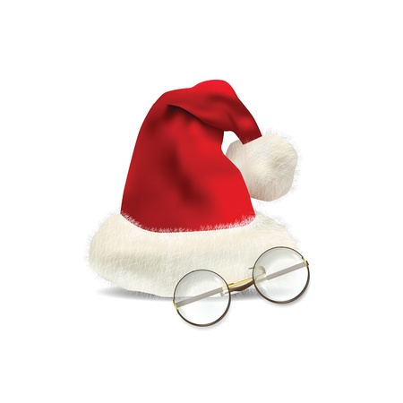Christmas Hat with glasses isolated on white