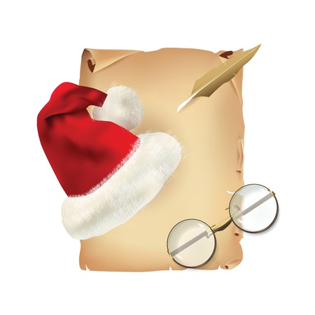letter writing: Old Parchment with Christmas Hat and Glasses