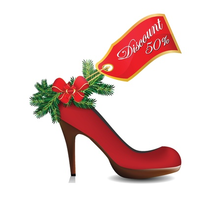 Illustration of christmas discount on red shoe  Vector