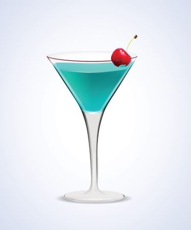 shaken:  Illustration of realistic Martini Cocktail Glass