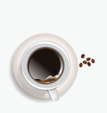 Coffe Cup and beans aerial view isolated on white background Vector