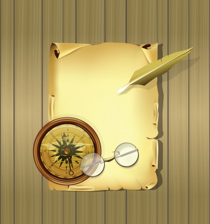 Old Parchment with Compas and Glasses Vector