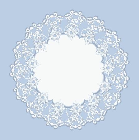 White Design Ornament on Blue Background Illustration