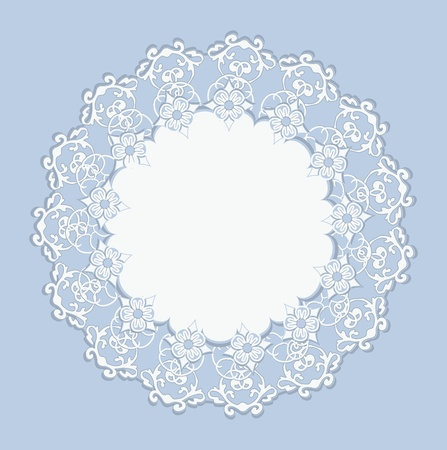 White Design Ornament on Blue Background Vector