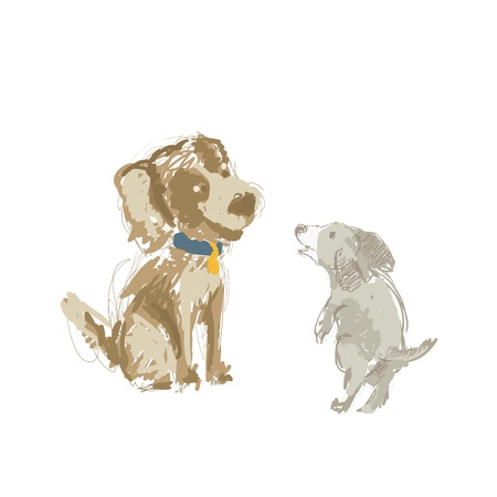 Illustration of two cartoon dog, hand drawn sketch  Vector
