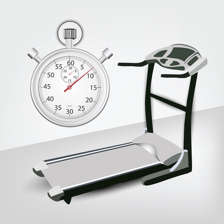 treadmill: Fitness machine with Timer Illustration